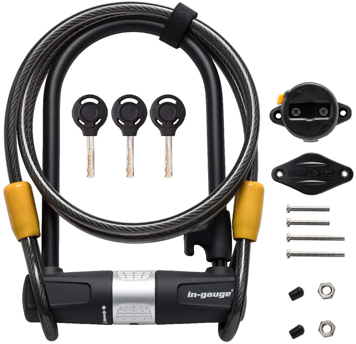 bicycle U-lock and cable set