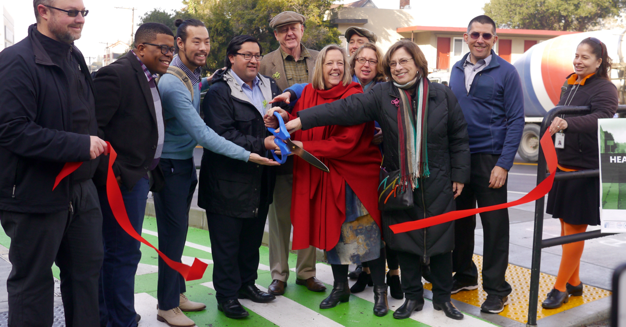 Berkeley Mayor Jesse Arreguin and community leaders cut a ceremonial ribbon on Hearst Avenue.